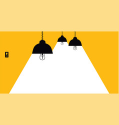 lighting lamp with white rays on a yellow vector image
