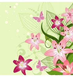 lilies on an emerald background vector image