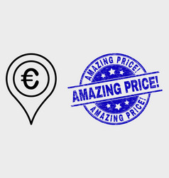 Line euro map marker icon and grunge vector