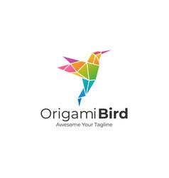 logo origami bird gradient colorful vector image