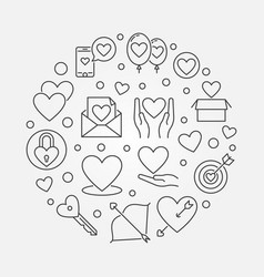 love creative outline round minimal vector image