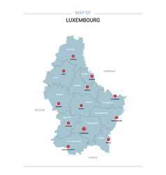 Luxembourg map with red pin vector