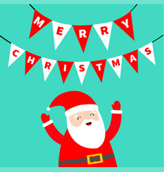 merry christmas bunting flags letters set xmas vector image