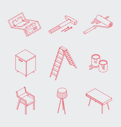 Minimalistic isometric home renovation icons vector