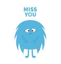 Monster silhouette miss you cute kawaii cartoon vector