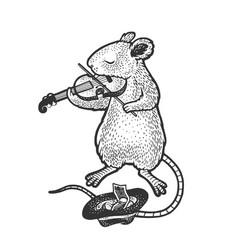 Mouse plays violin sketch vector