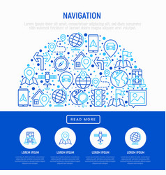 navigation and direction concept in half circle vector image