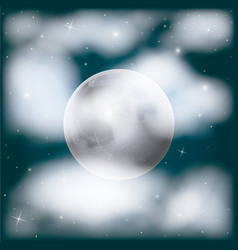 nightly sky scene background with moon and vector image