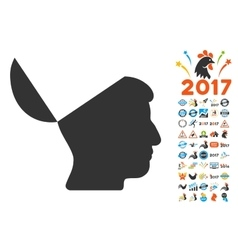 Open Mind Icon With 2017 Year Bonus Pictograms vector