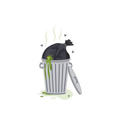 overflowing trash can with garbage flat cartoon vector image