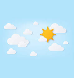 paper sun and clouds summer sunny day blue sky vector image