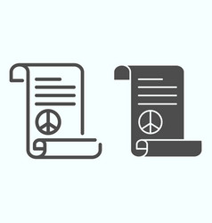Peace treaty line and solid icon document vector