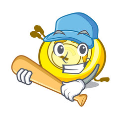 playing baseball cd player character cartoon vector image