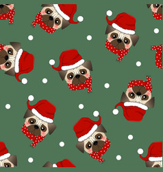 Pug santa claus dog with red scarf on green vector