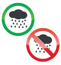 Rain permission signs set vector