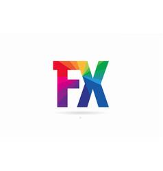 Rainbow colored alphabet combination letter fx f vector