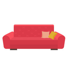 red cozy sofa with decorative pillows colorful vector image