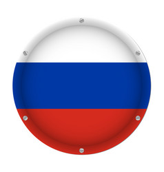 round metallic flag of russia with screws vector image