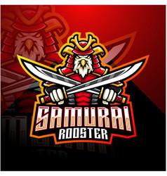 Samurai rooster esport mascot logo vector