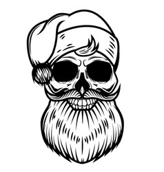 santa claus skull isolated on white background vector image