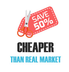 save 50 cheaper than real market red tag scissors vector image