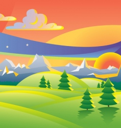 scenic sunset landscape vector illustration vector image