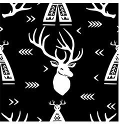 Seamless pattern with deer heads and wigwams vector
