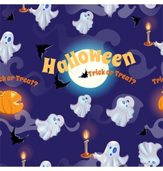 Seamless pattern with ghosts bats and pumpkins vector image