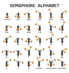 Semaphore alphabet flags on a white background vector image