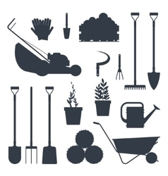 Set farm tools flat black silhouette vector image