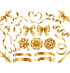 set gold ribbons isolated on a white background vector image
