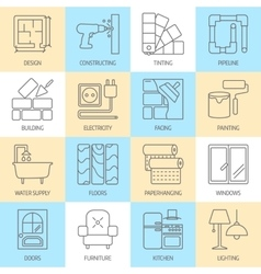 Set of modern flat line icons for house vector