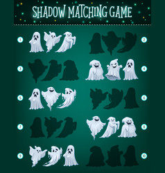 shadow matching game template halloween ghosts vector image