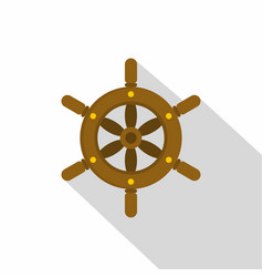 Ship wheel icon flat style vector