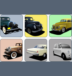 Six icons with parts old rarity cars 3d vector