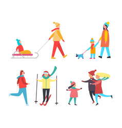 skating skiing people wintertime activity vector image