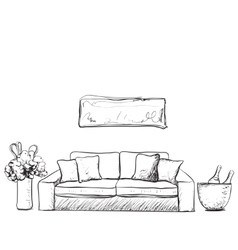 Sketch of living room interior with a sofa and vector