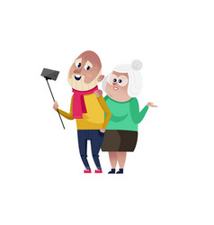 Smiling old couple doing selfie character vector