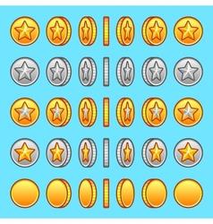 Star gold silver coins rotation set vector