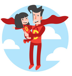 Super dad and super daughter vector