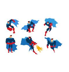 Superman character set comic muscular superhero vector