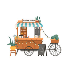 takeaway coffee to go shop awning and shopwindow vector image