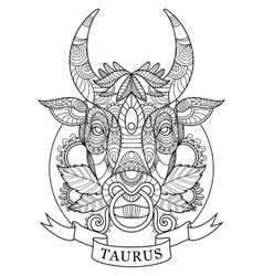 Taurus zodiac sign coloring book for adults vector