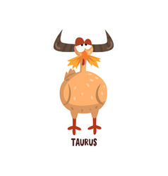 Taurus zodiac sign funny chick character vector