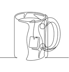 Tea mug continuous line vector