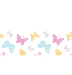 Textile textured colorful butterflies horizontal vector