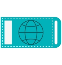 Ticket with earth globe diagram icon vector