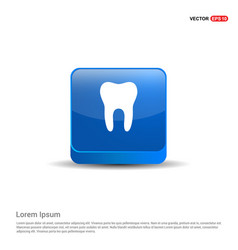 tooth icon - 3d blue button vector image