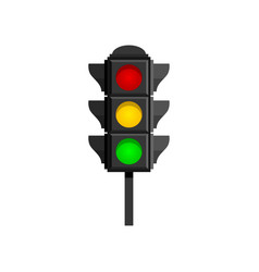 Traffic lights with red yellow and green lamps vector