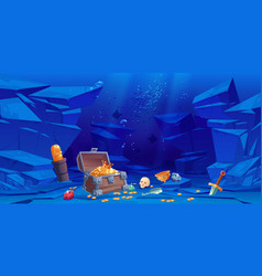 Treasure on sea bottom chest with golden coins vector